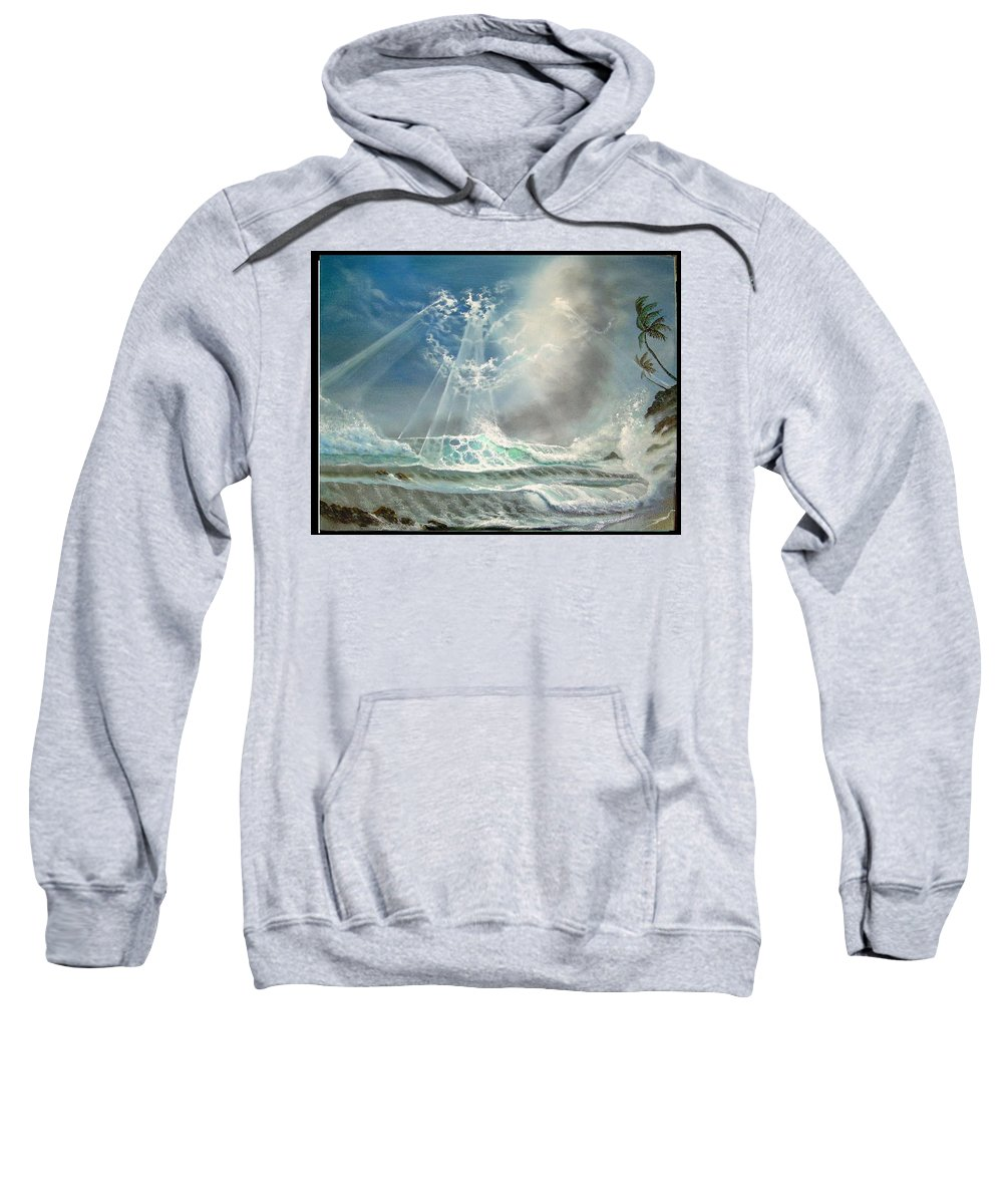 Hawaii Seascape Sweatshirt featuring the painting Hawaii Seascape by Leland Castro