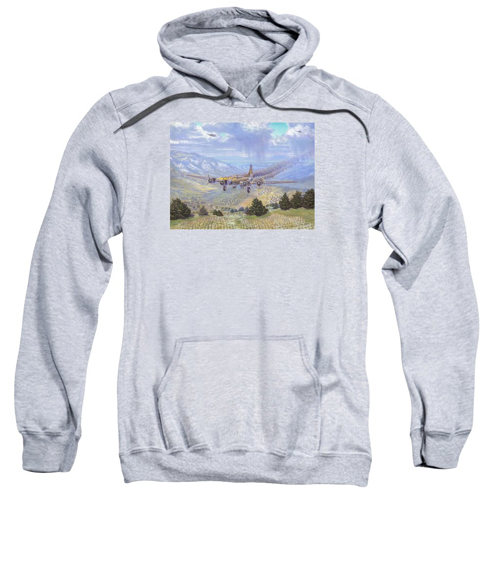 99th Bomb Group Sweatshirt featuring the painting Her Majestys Last Landing by Scott Robertson