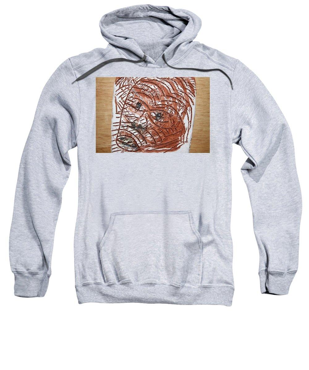 Jesus Sweatshirt featuring the ceramic art Horror - Tile by Gloria Ssali