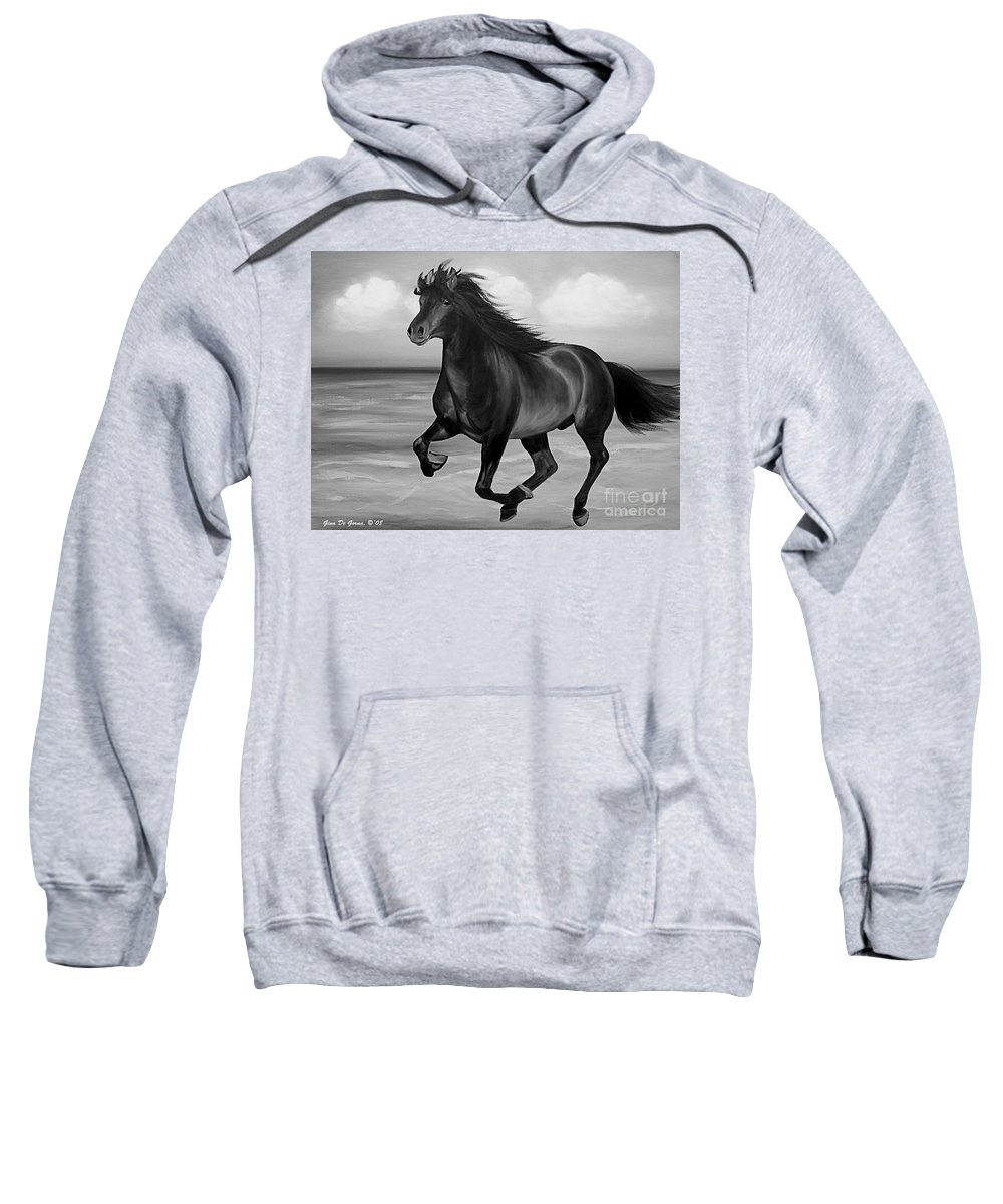 Horses Sweatshirt featuring the painting Horses In Paradise Run by Gina De Gorna