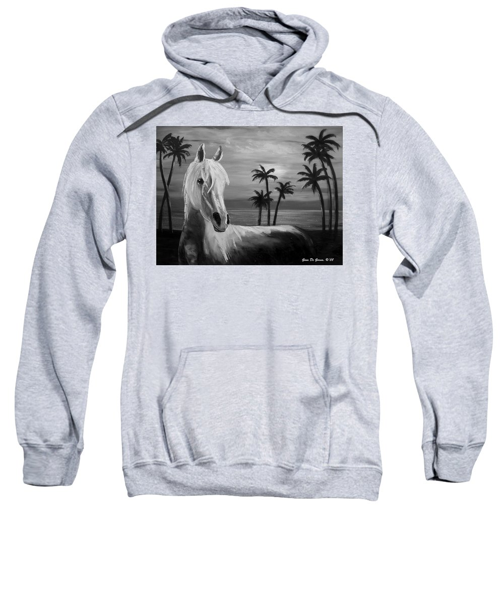 Horses Sweatshirt featuring the painting Horses In Paradise Tell Me Your Dream by Gina De Gorna