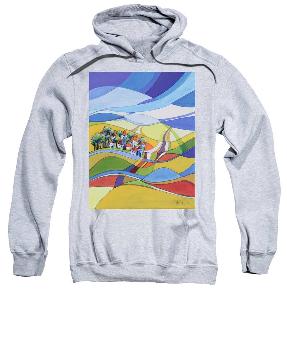 Landscape Sweatshirt featuring the painting Houses Along The River by Aniko Hencz