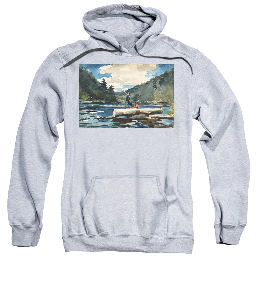 Winslow Homer Sweatshirt featuring the drawing Hudson River, Logging 1 by Winslow Homer