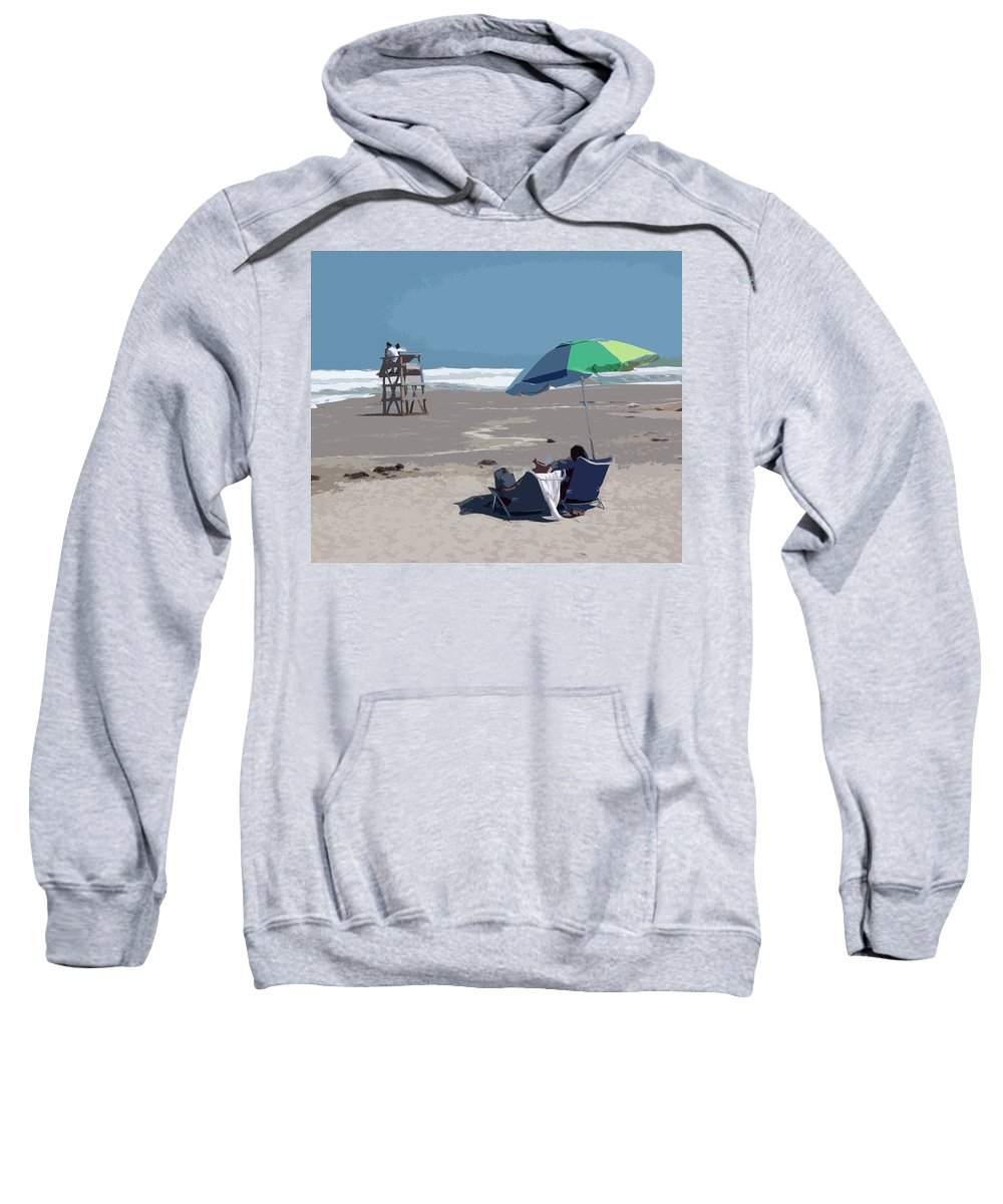 Lifeguard Sweatshirt featuring the painting Hurricane Surf In Florida by Allan Hughes