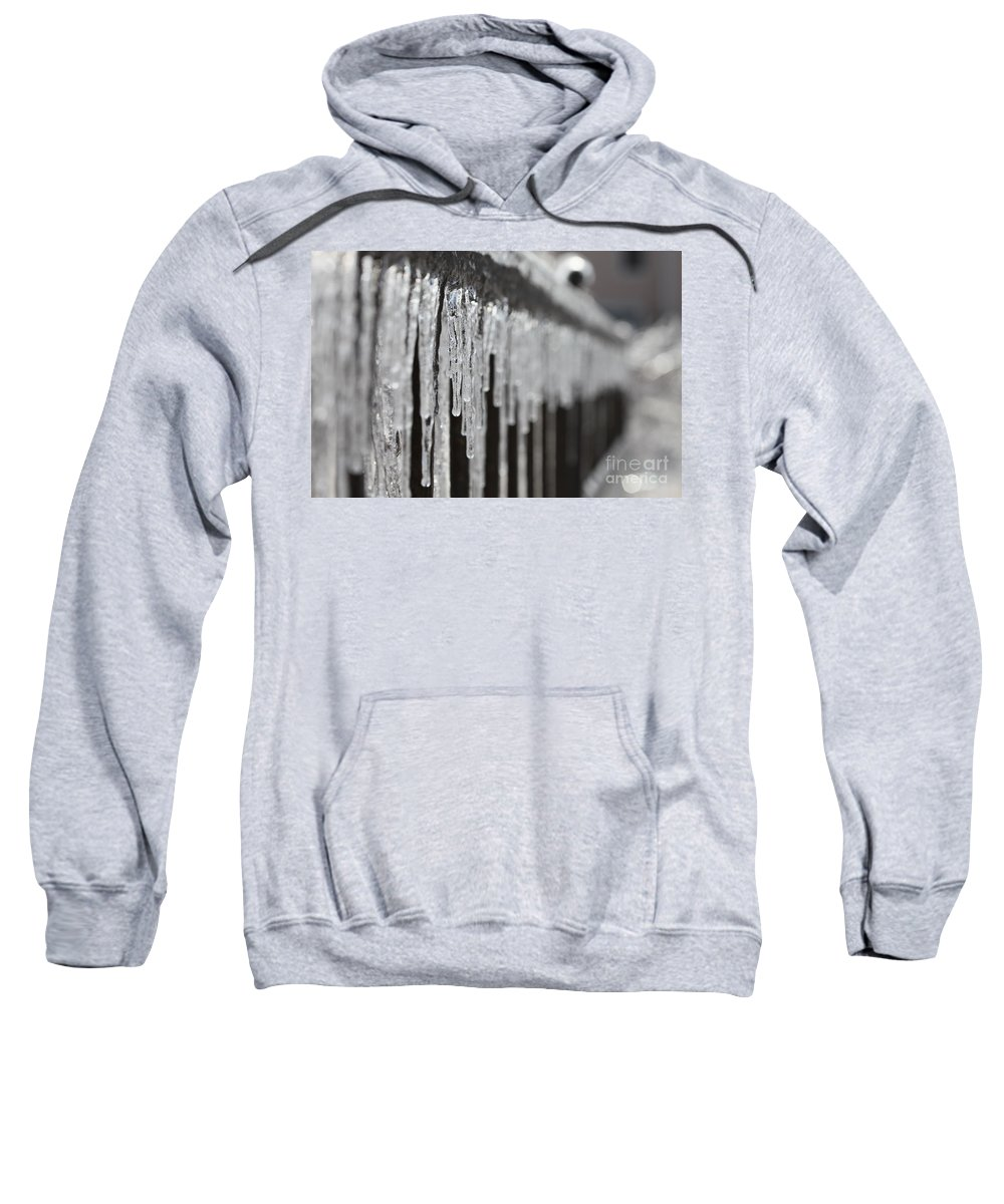 Icicles Sweatshirt featuring the photograph Icicles At Attention by Nadine Rippelmeyer