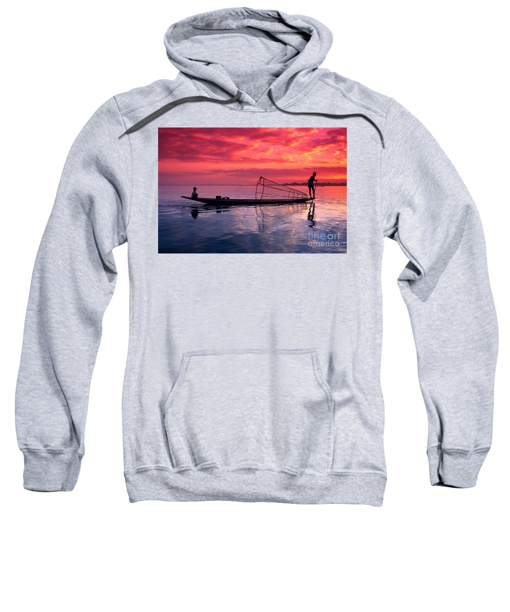 73-csm0075 Sweatshirt featuring the photograph Inle Lake Fisherman by Gloria & Richard Maschmeyer - Printscapes