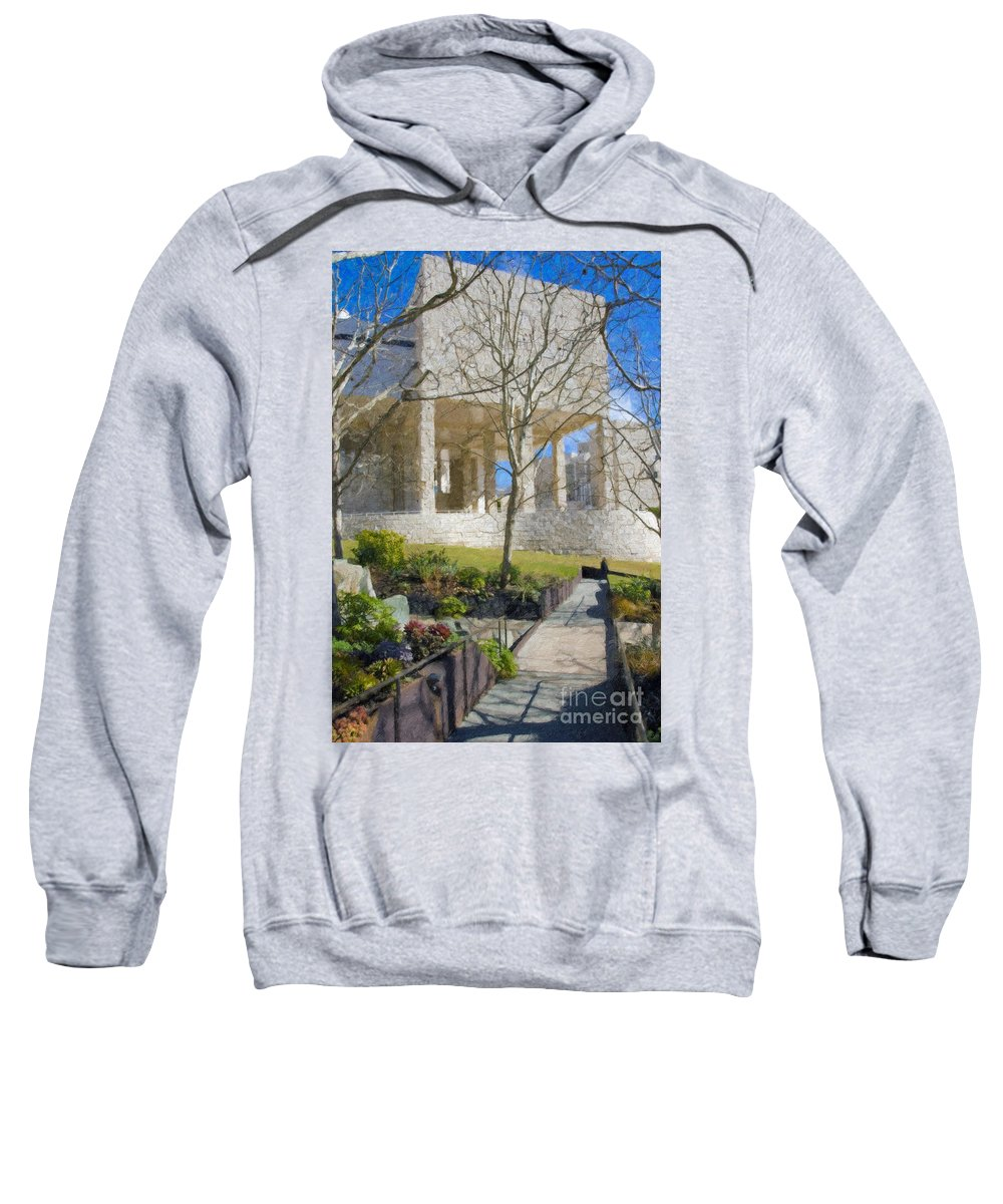 The Sweatshirt featuring the photograph J Paul Getty Museum Garden Terrace by David Zanzinger