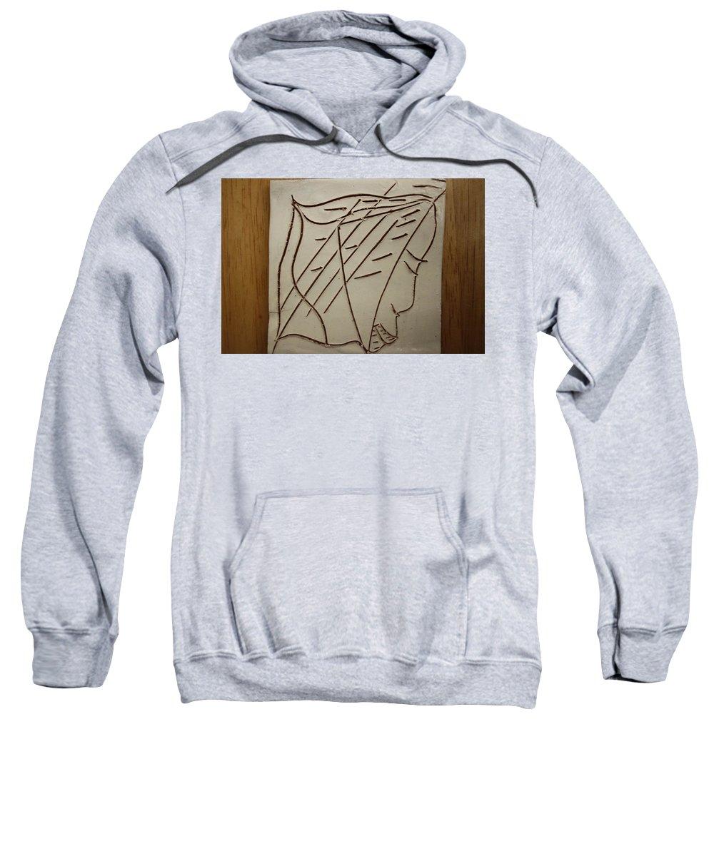 Jesus Sweatshirt featuring the ceramic art Jesus - Tile by Gloria Ssali