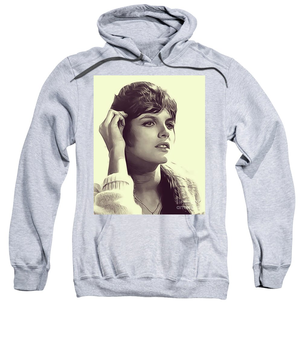 Katharine Sweatshirt featuring the digital art Katharine Ross, Vintage Actress by John Springfield