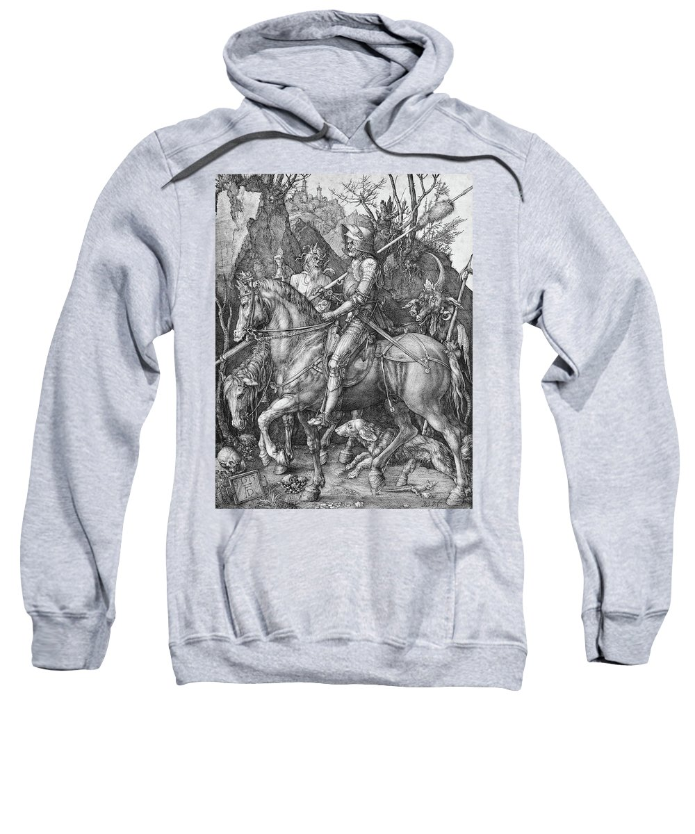 German Sweatshirt featuring the painting Knight Death And The Devil by Albrecht Durer