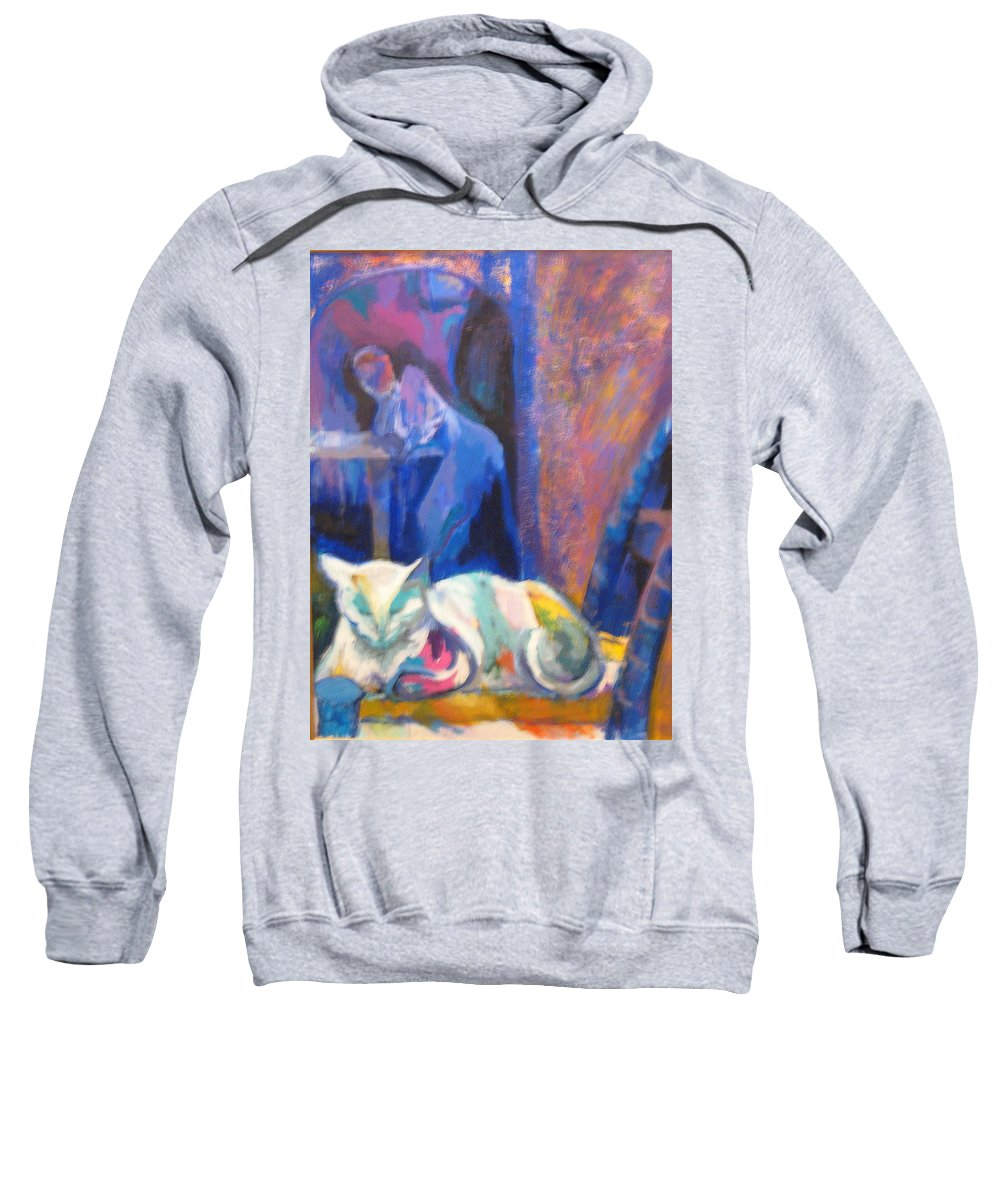 White Cat Sweatshirt featuring the painting Le Chat Blanc by Connie Freid