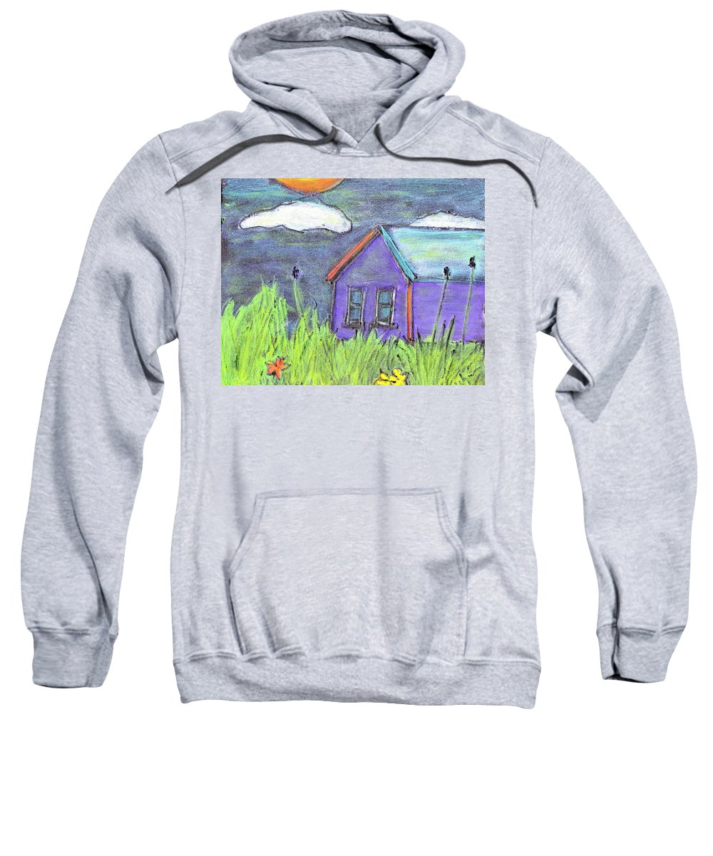 Abandoned Sweatshirt featuring the painting Left Behind by Wayne Potrafka