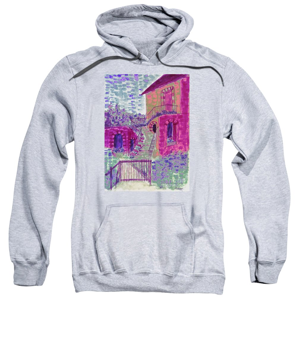 Abstract House Sweatshirt featuring the painting Let Them Eat Grape Cake by Jayne Somogy