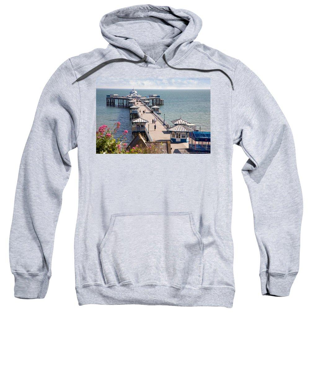 Llandudno Sweatshirt featuring the photograph Llandudno Pier North Wales Uk by Mal Bray