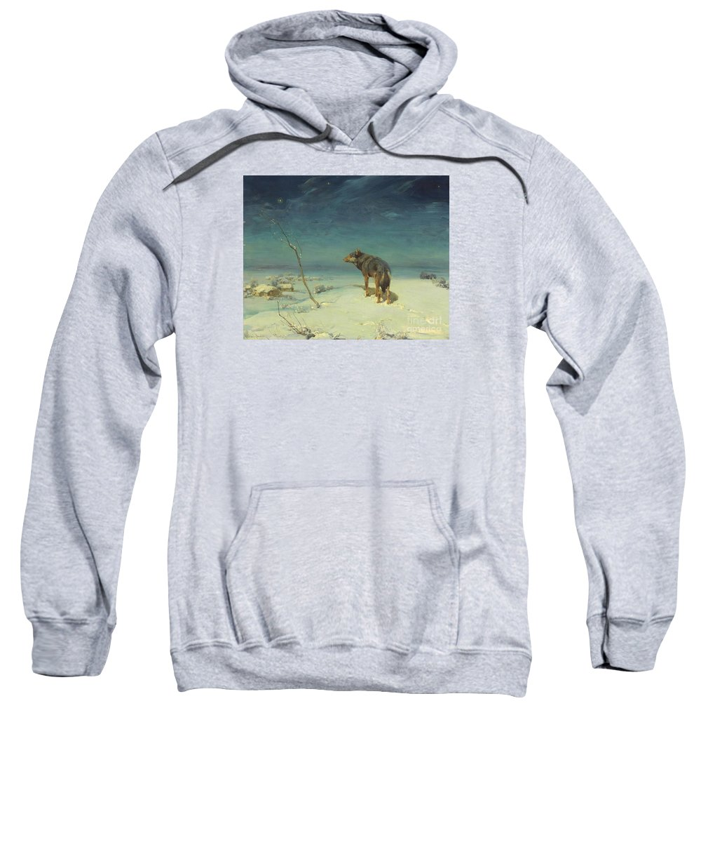 Alfred Kowalski Sweatshirt featuring the painting Lone Wolf by Celestial Images