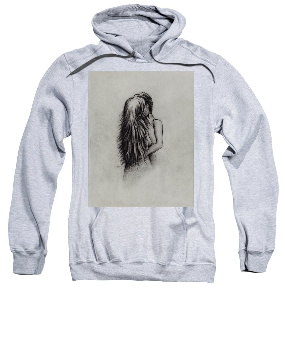 Figures Sweatshirt featuring the drawing Lovers by William Russell Nowicki