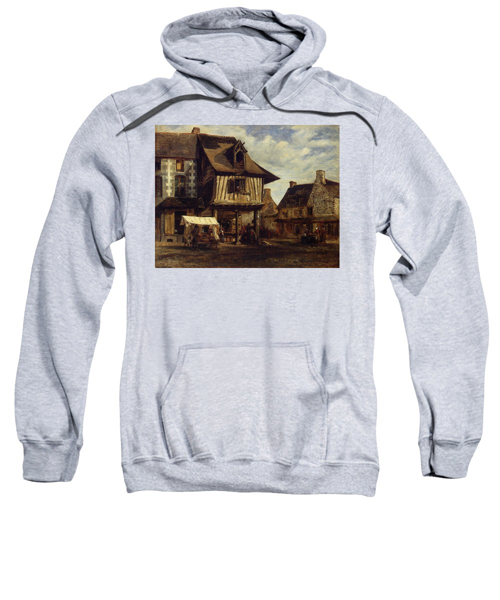 Barbizon School Sweatshirt featuring the painting Market-place In Normandy by Theodore Rousseau