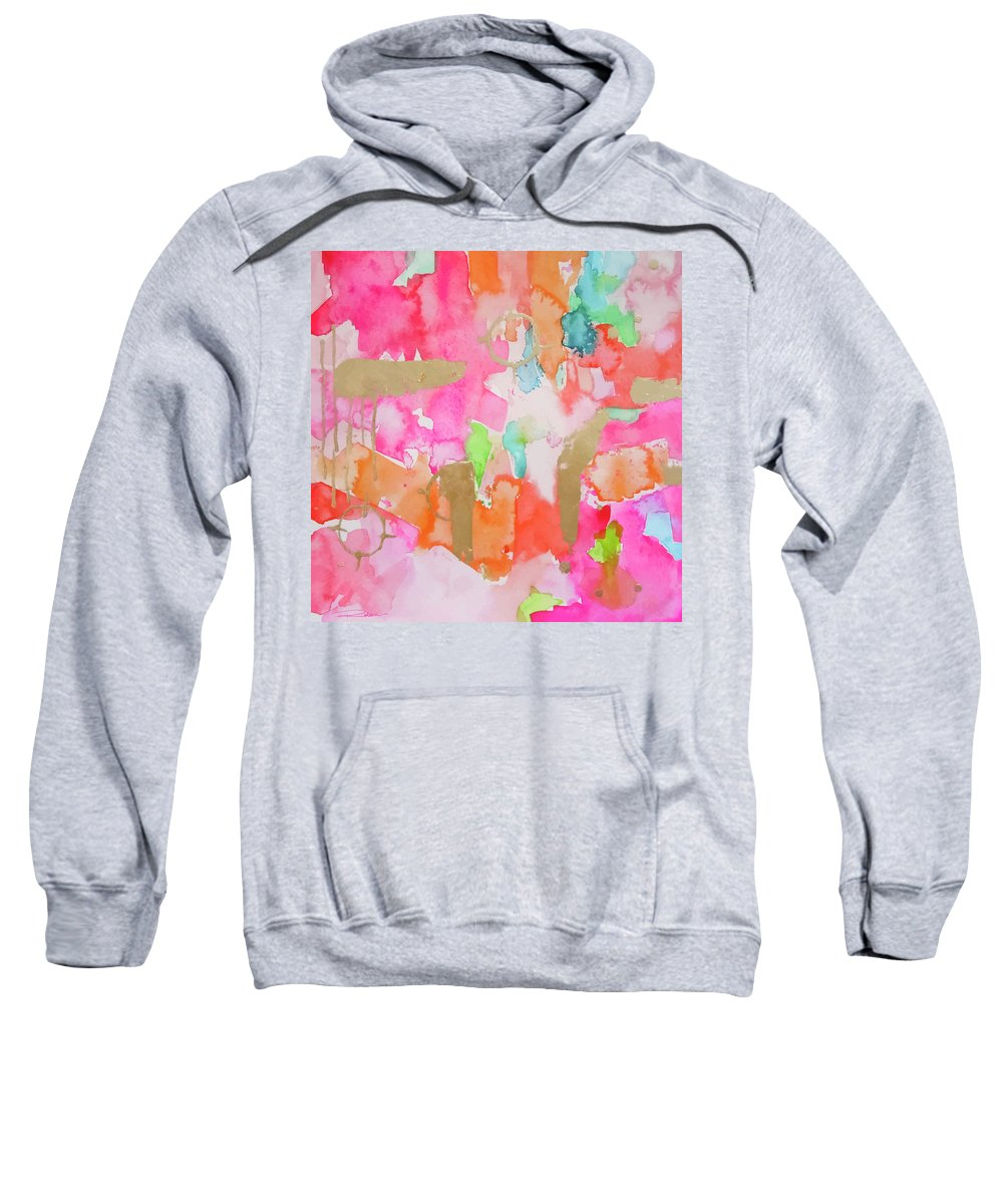 Pink Abstract Painting Sweatshirt featuring the painting Melon Mirage by Roleen Senic