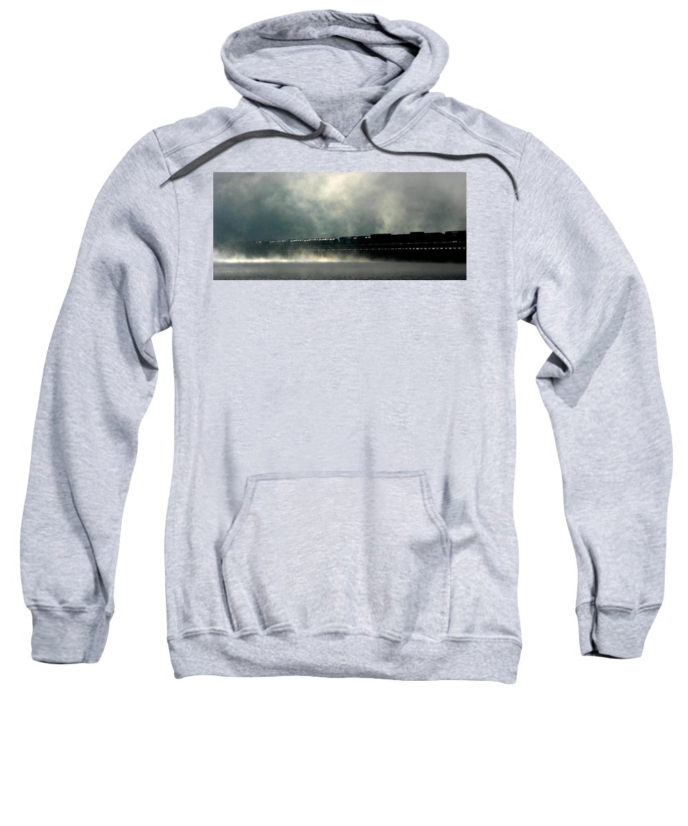 Train Sweatshirt featuring the photograph Misty Crossing by Marie-Dominique Verdier