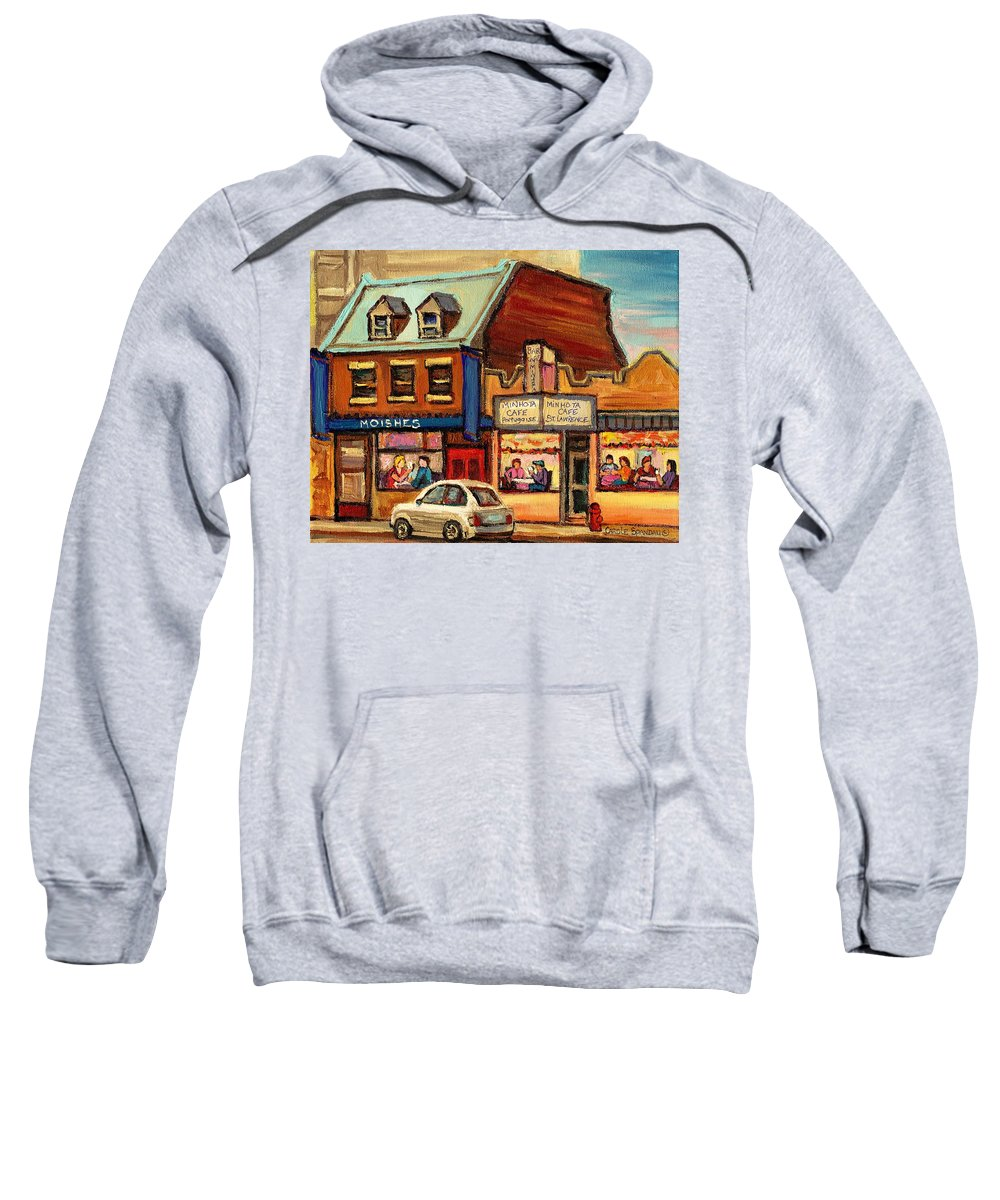 Moishes Sweatshirt featuring the painting Moishes Steakhouse On The Main by Carole Spandau