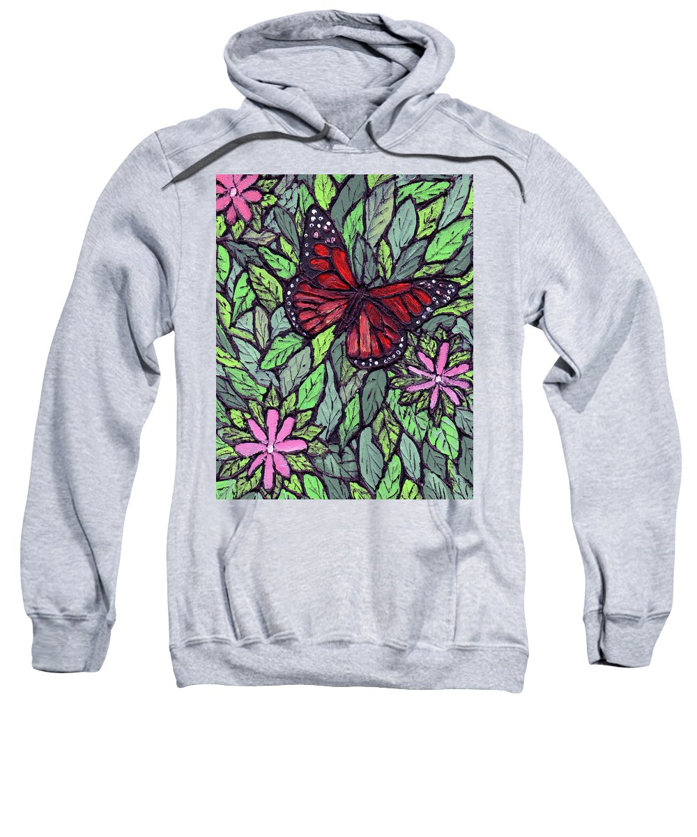 Monarch Sweatshirt featuring the painting Monarch Butterfly by Wayne Potrafka