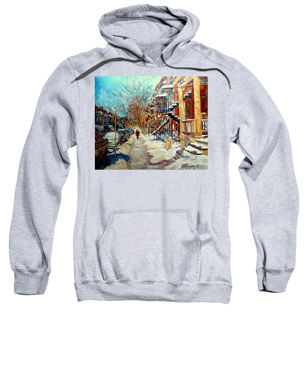 Montreal Sweatshirt featuring the painting Montreal Street In Winter by Carole Spandau