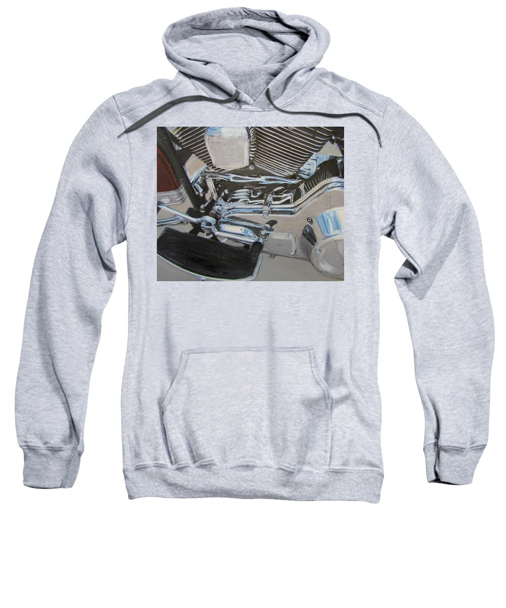 Motorcycle Sweatshirt featuring the mixed media Motorcycle Close Up 2 by Anita Burgermeister