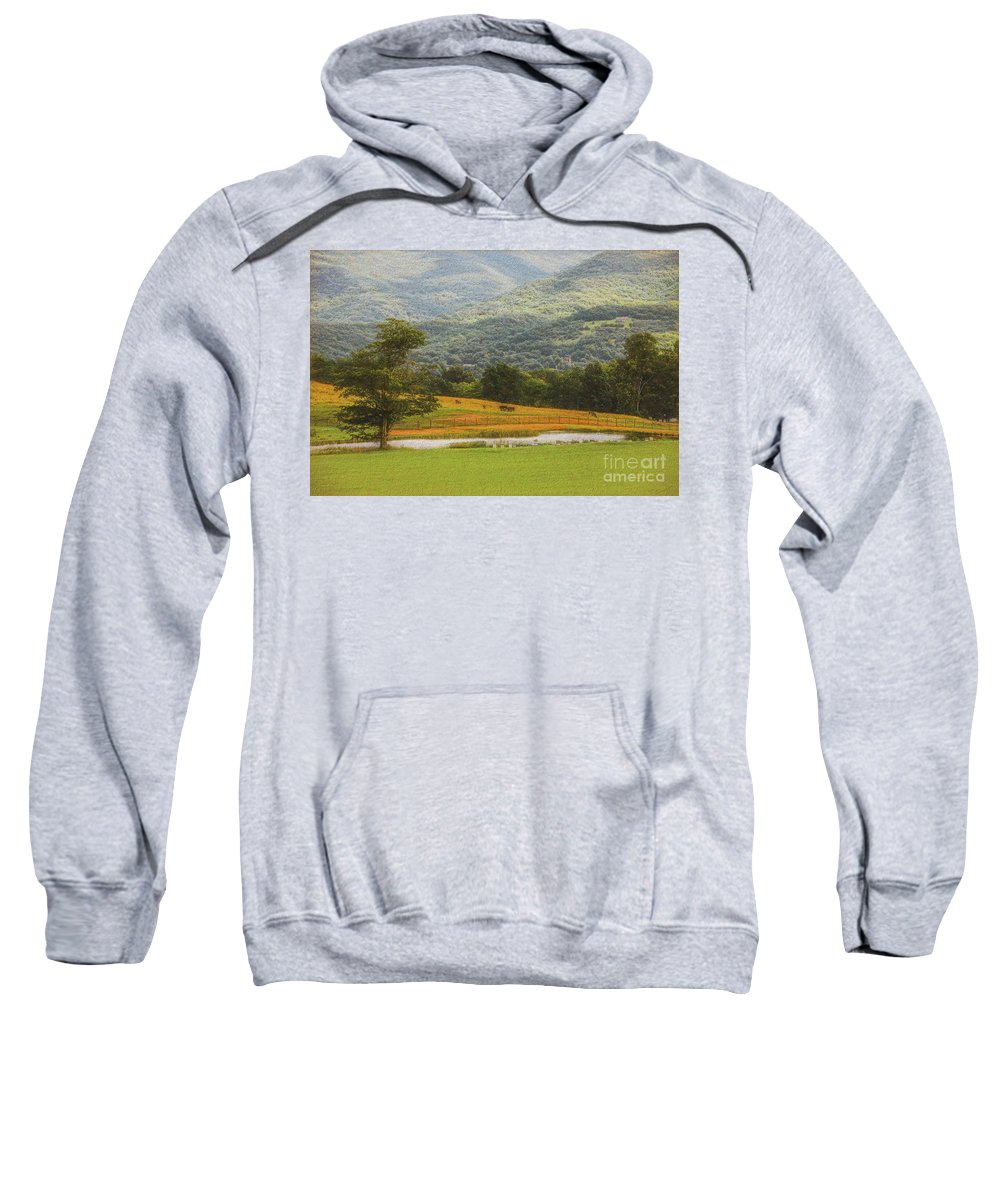 Mountains Sweatshirt featuring the photograph Mountain Farm With Pond In Artistic Version by Doug Berry