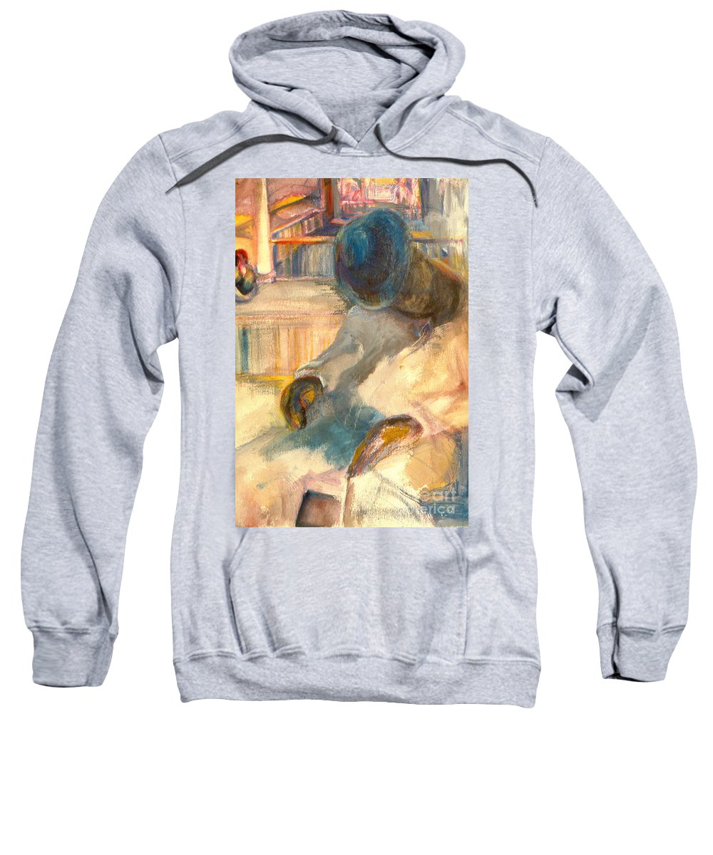 Watercolor Sweatshirt featuring the painting Mr Hunters Porch by Daun Soden-Greene