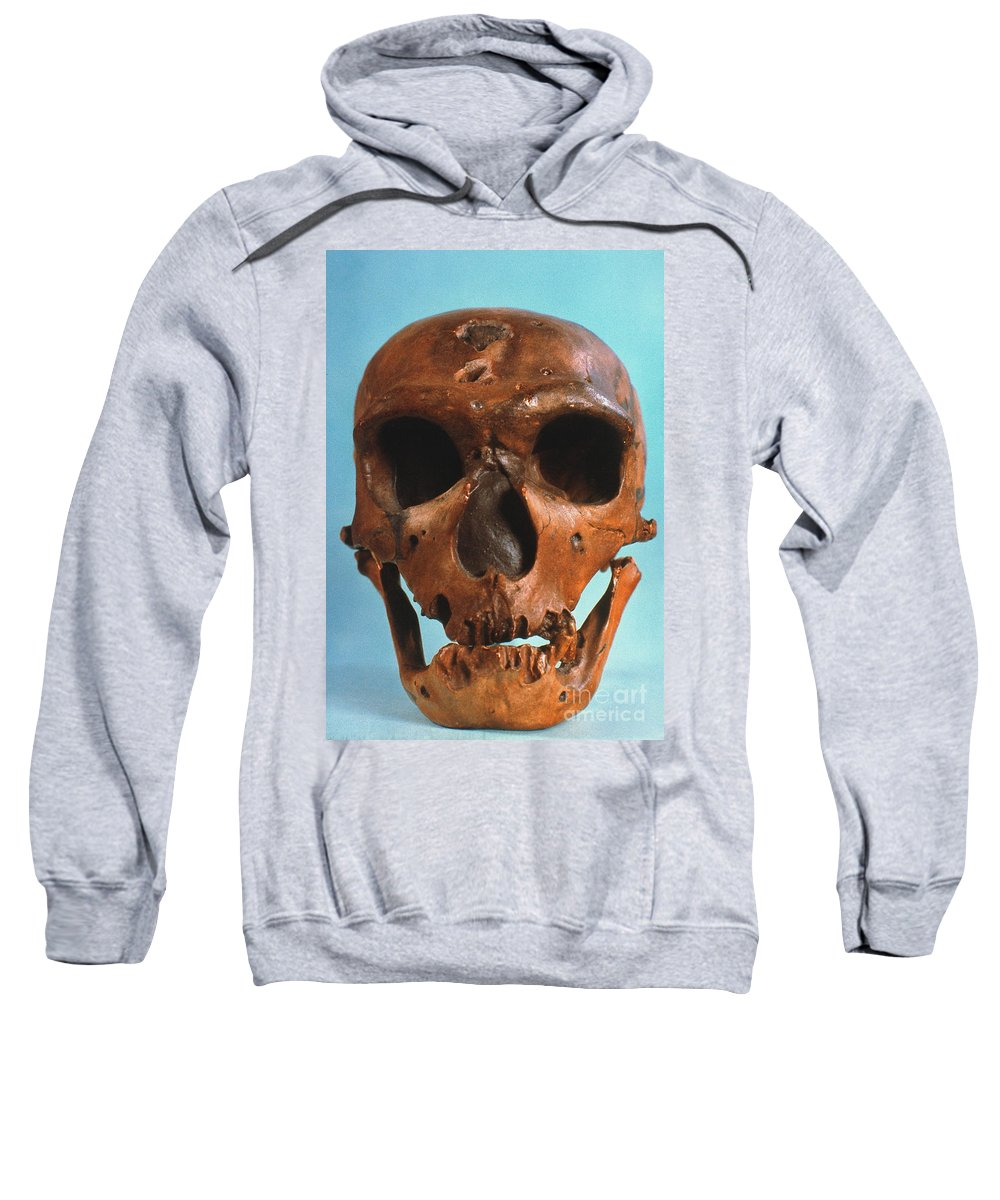 Ancient Sweatshirt featuring the photograph Neanderthal Skull by Granger