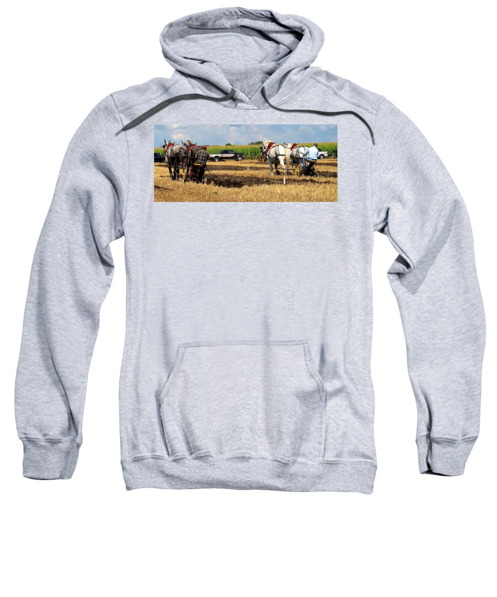 Horses Sweatshirt featuring the photograph Neck And Neck by Ian MacDonald
