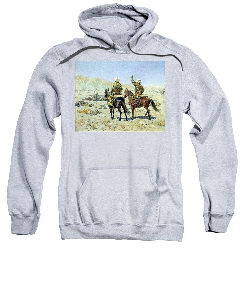 Camel Sweatshirt featuring the digital art negotiators Surrender - Go to hell 1873 Vasily Vereshchagin by Eloisa Mannion