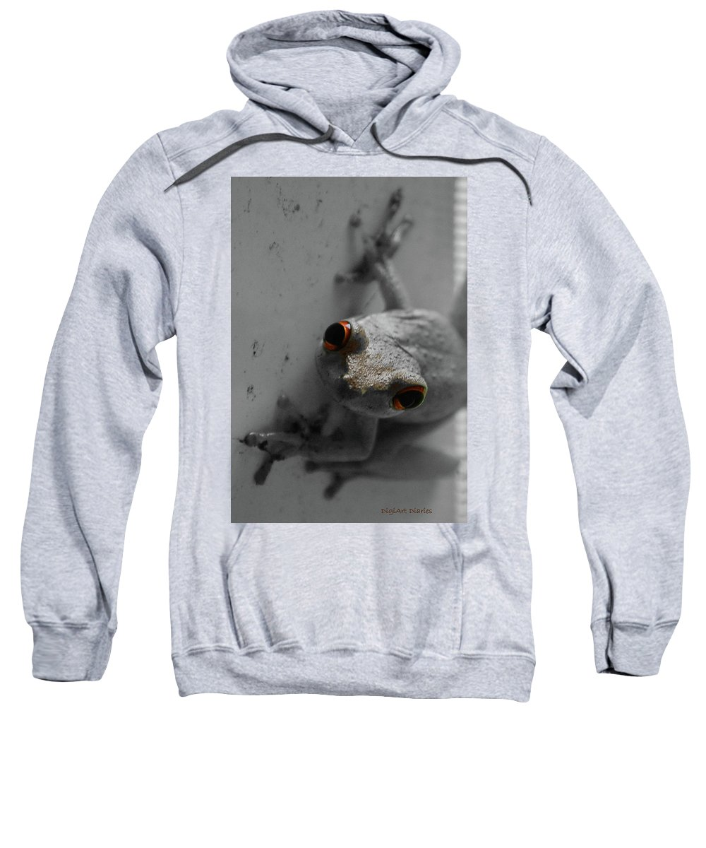 Frog Sweatshirt featuring the digital art Ogling Amphibian by DigiArt Diaries by Vicky B Fuller