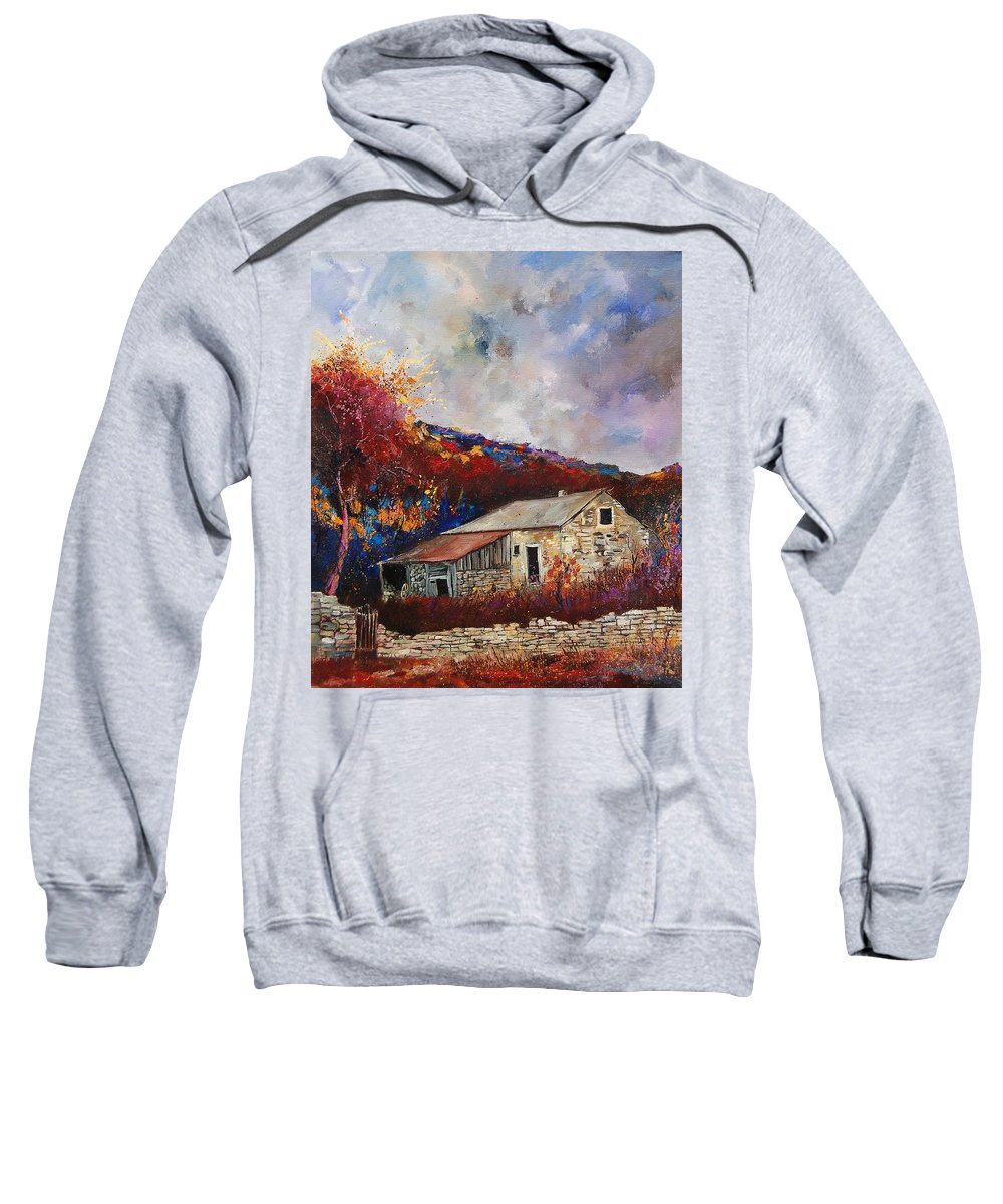 Village Sweatshirt featuring the painting Old Barn by Pol Ledent