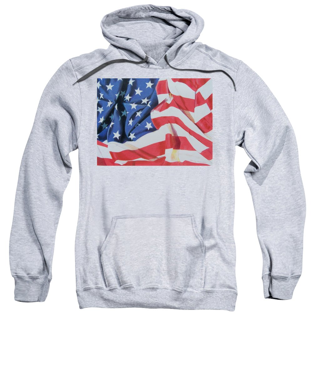 Flag Sweatshirt featuring the mixed media Old Glory by Constance Drescher