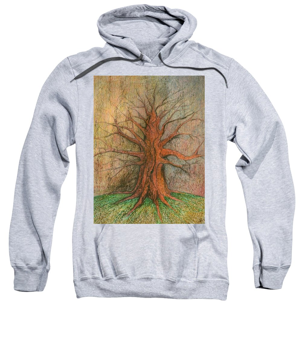 Colour Sweatshirt featuring the painting Old Tree by Wojtek Kowalski
