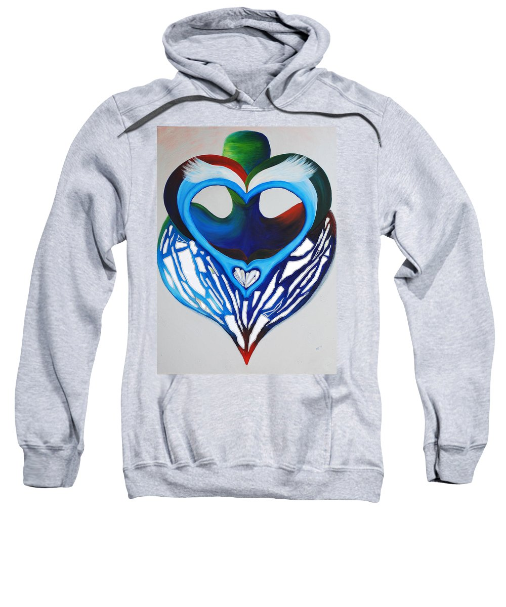 Open Heart Sweatshirt featuring the mixed media Open Heart by Catt Kyriacou