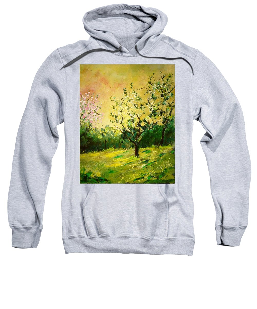 Spring Sweatshirt featuring the painting Orchard 45 by Pol Ledent
