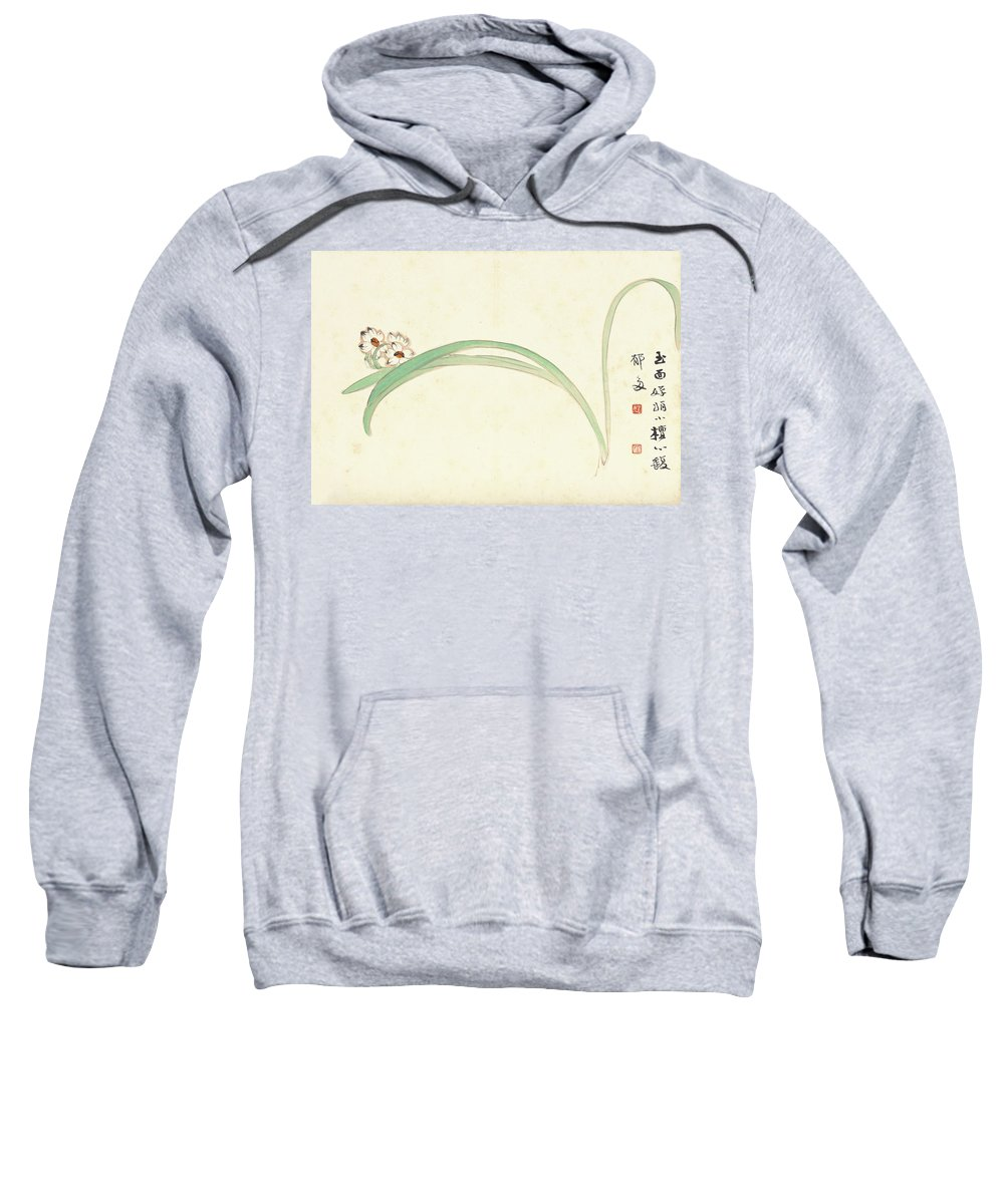 Orchid Sweatshirt featuring the painting Orchid by Zhang Daqian