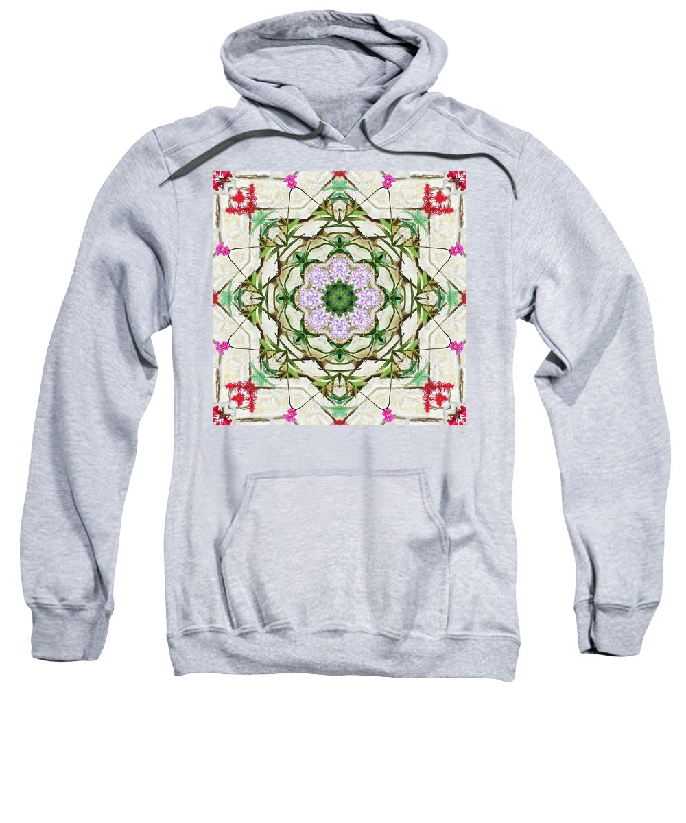 Orchid Sweatshirt featuring the photograph Orchids And Stone Wall Kaleidoscope 1764 by R V James