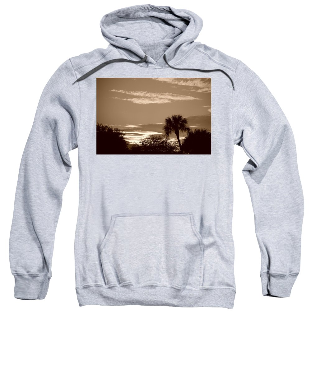 Sepia Sweatshirt featuring the photograph Palms In The Clouds by Rob Hans