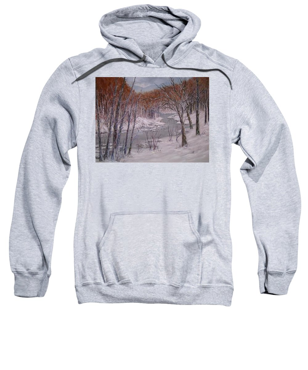 Snow; Landscape Sweatshirt featuring the painting Peace And Quiet by Ben Kiger