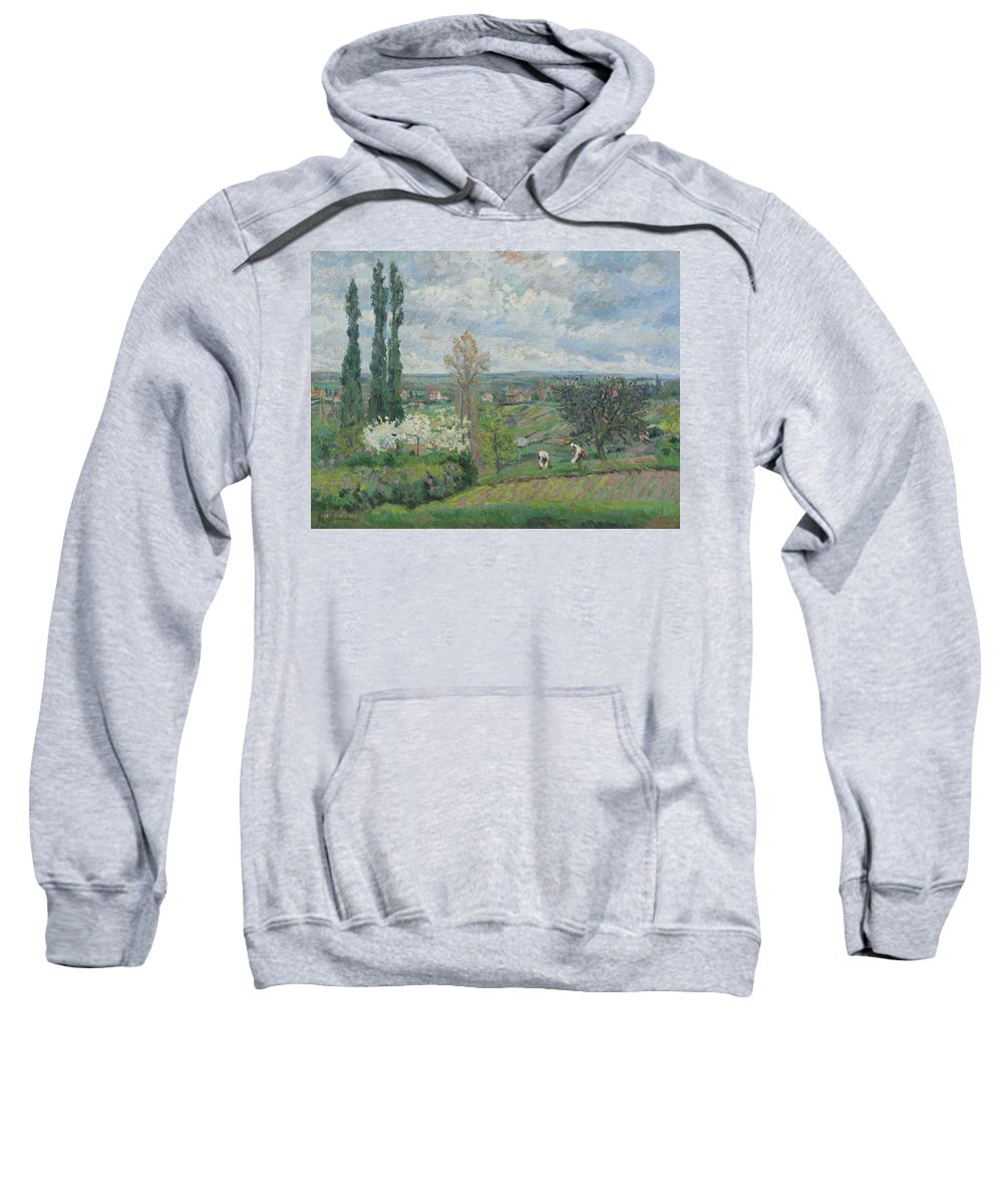 Nature Sweatshirt featuring the painting Peacock And Poultry In A Park, Chased By A Dog, Arie Lamme, C. 1775 - C. 1800 by Arie Lamme