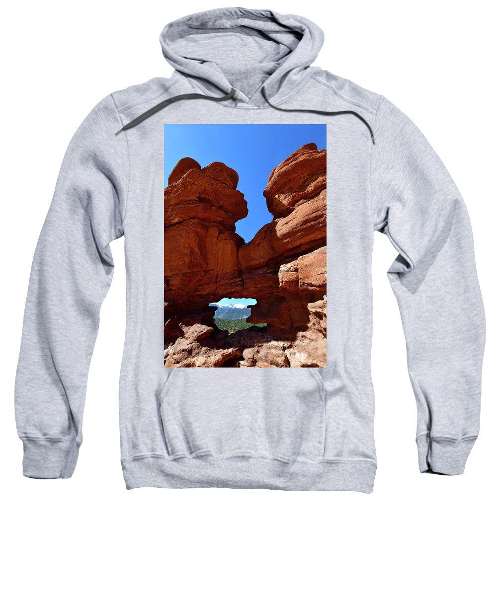 Natural Window Sweatshirt featuring the photograph Pikes Peak Through Natural Window by Surjanto Suradji