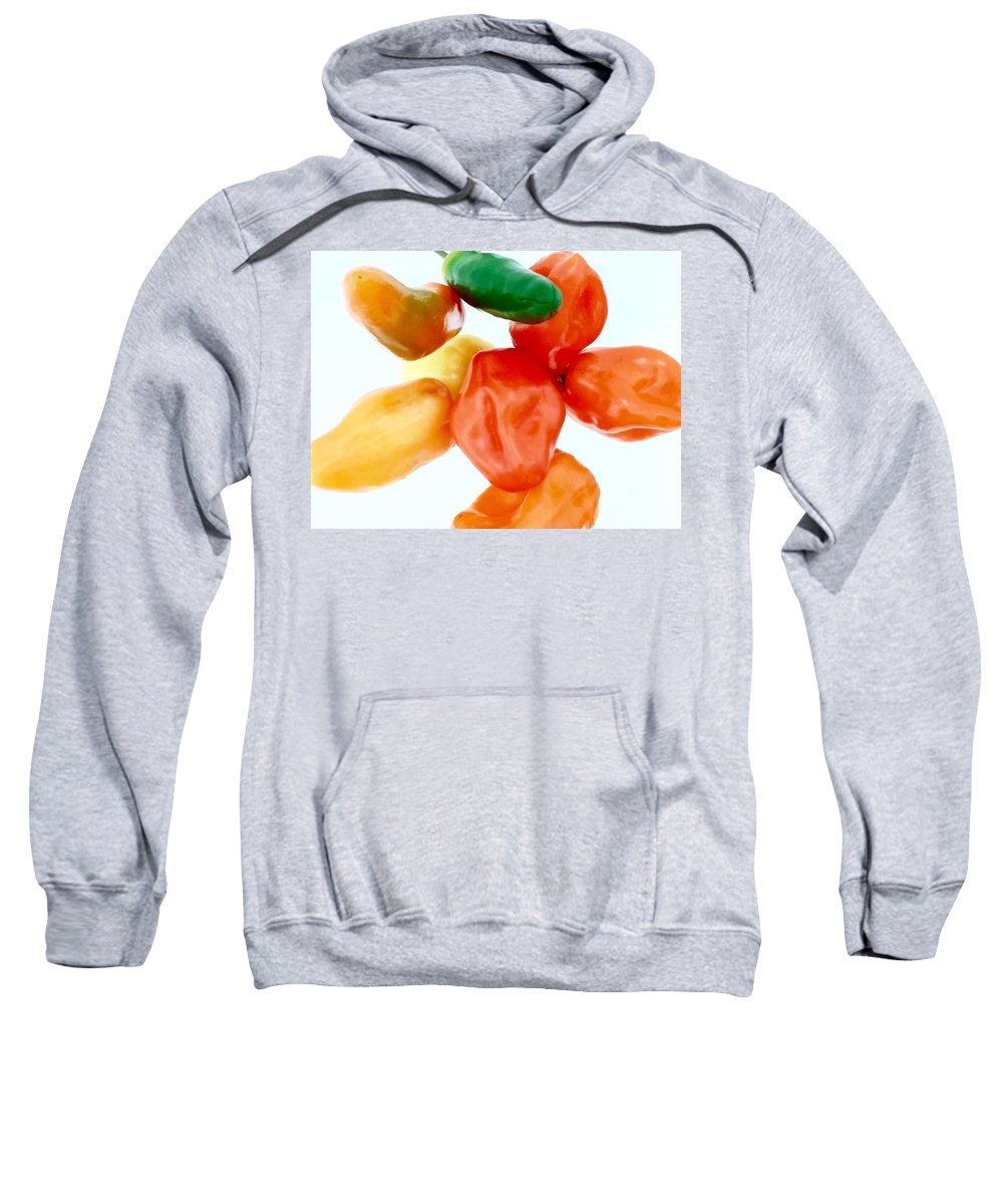 Hot Peppers Sweatshirt featuring the photograph Piquant Play 1 by Mioara Andritoiu