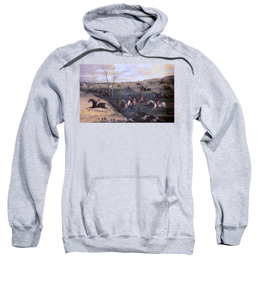 Landscape Sweatshirt featuring the digital art Po Hunp 15 H Alken-oakley Hunt Henry Thomas Alken by Eloisa Mannion