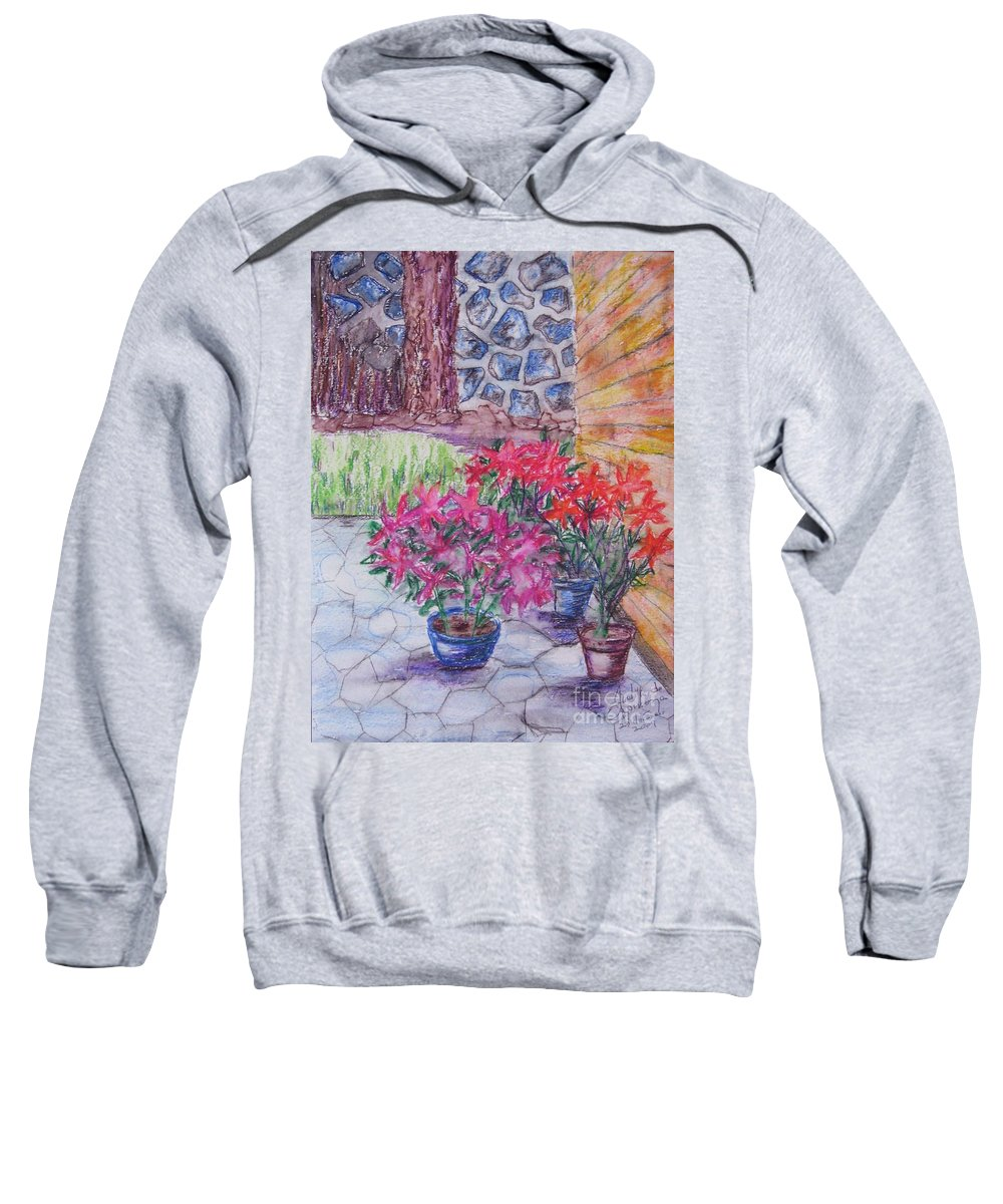Poinsettias Sweatshirt featuring the painting Poinsettias - Gifted by Judith Espinoza