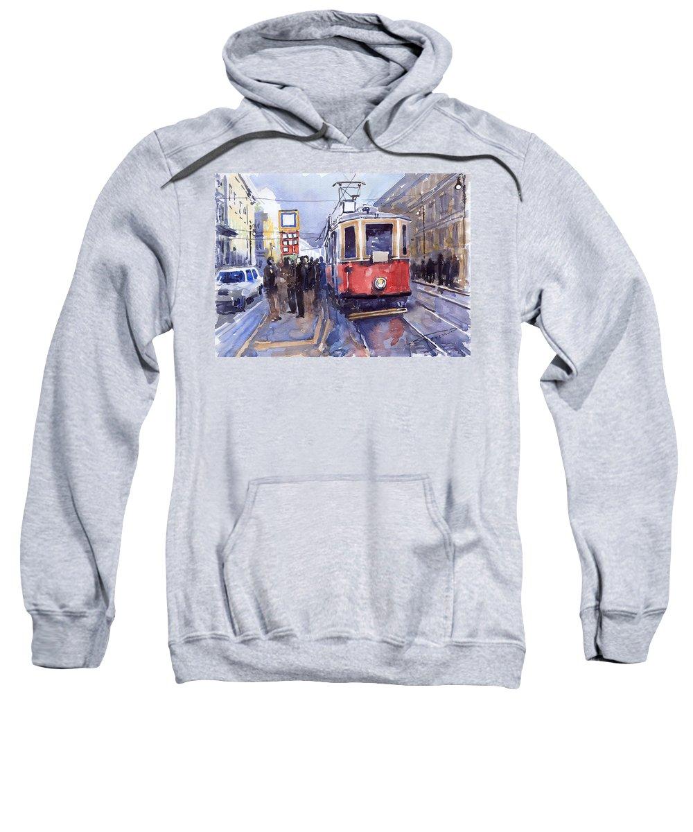 Cityscape Sweatshirt featuring the painting Prague Old Tram 03 by Yuriy Shevchuk