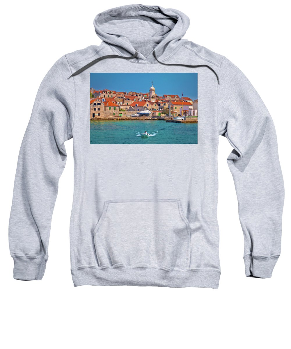 Prvic Sweatshirt featuring the photograph Prvic Sepurine Waterfront And Stone Architecture View by Brch Photography