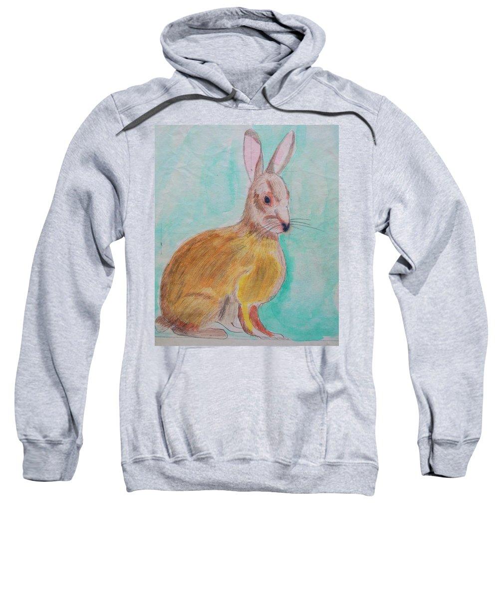Rabbit Sweatshirt featuring the painting Rabbit Illustration by Eric Schiabor